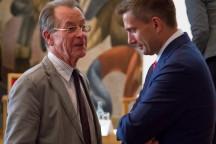 Franz Müntefering und Martin Dulig im Gespräch