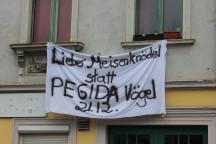 """Plakat mit der Aufschrift """"Lieber Meisenknödel statt Pegida-Vögel"""""""